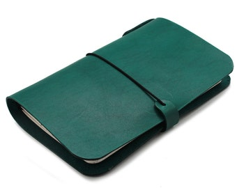 LEATHER COVER for Midori - Field notes -  Cahiers - Journal in Dark Teal Green