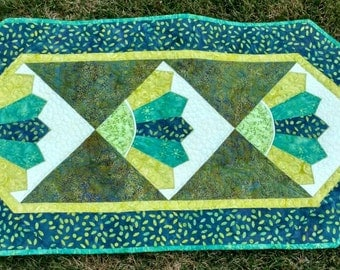 Batik Fan Quilted Table Runner Green Blue