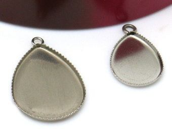 50 Pendant Trays Stainless Steel Jagged Frame 13x18mm/ 18x25mm Teardrop Bezel Setting W/ Ring Wholesale Pendant Base Cabochon Mountings