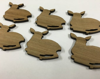 Resting Fawn in Queensland Walnut timber. Laser cut brooch supply - 6 pieces