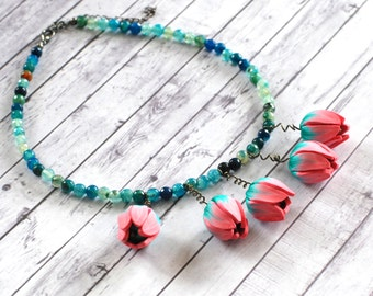 Agate necklace, Flower necklace, Unique statement necklace, Floral jewelry, Pink, green and blue necklace, Spring jewelry, Gift for her