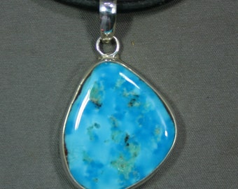 Turquoise and sterling Sleeping Beauty mine pendant James Saunders,  JS-pd-048