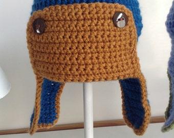 Boys crochet aviator hat blue and brown