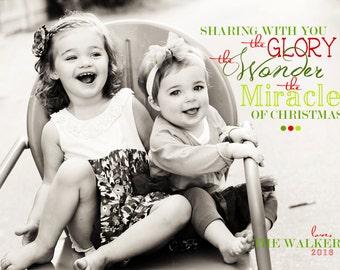Glory, Wonder, Miracle - Custom Photo Christmas Card