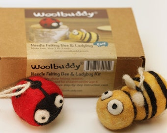 Needle felting bee & ladybug kit. DIY kit . craft.