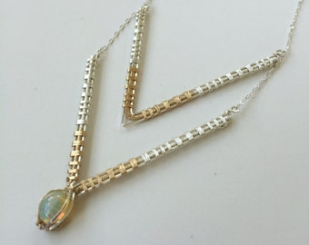 MADE TO ORDER Double Chevron Necklace with Opal accent