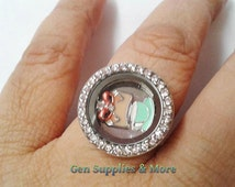 Adjustable Floating Locket Ring with 2 choice of Floating Charms, Floating Ring Locket, Gemstone Ring, Silver Ring, Floating Locket