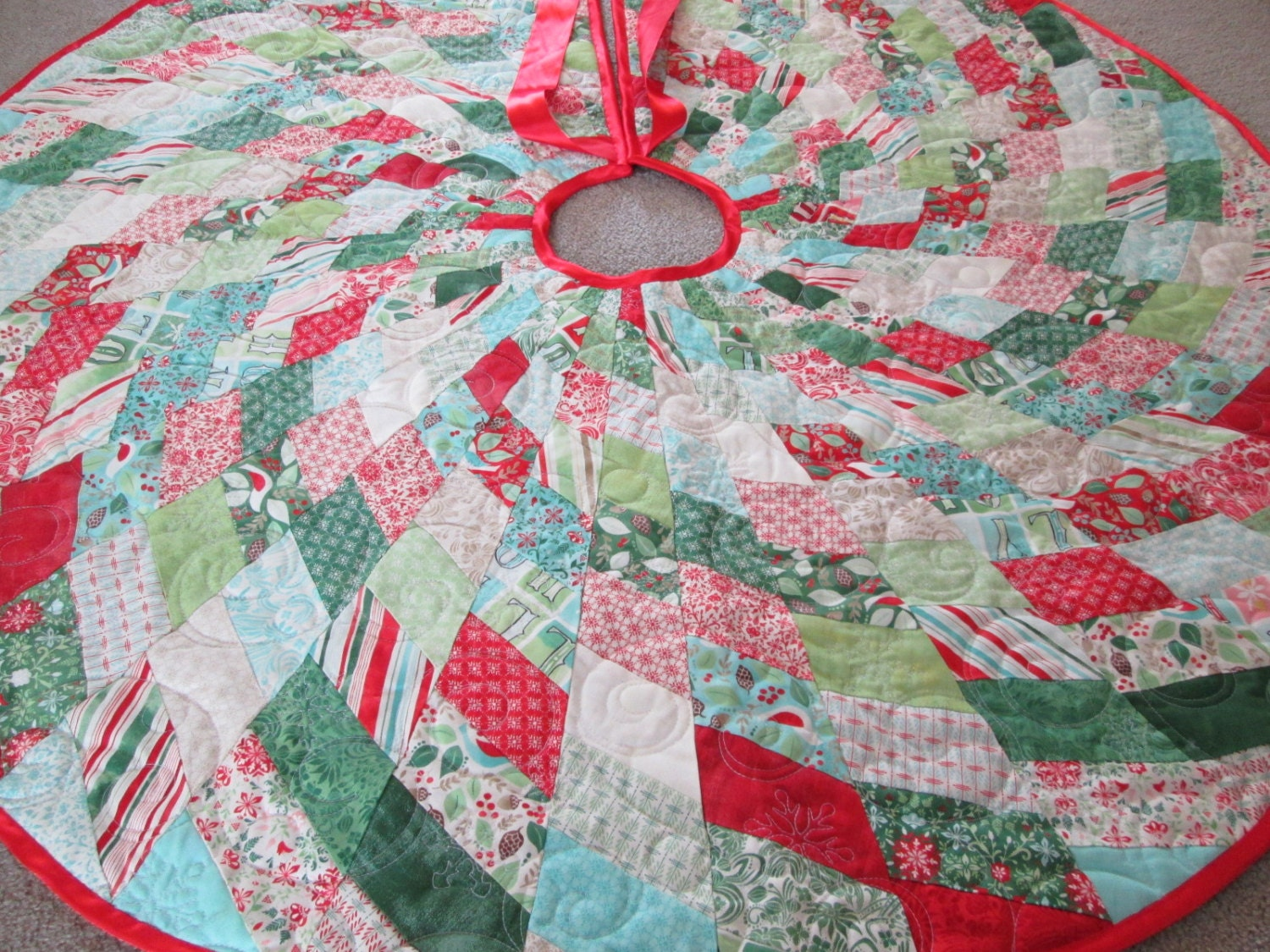 Modern Christmas Tree Skirt Quilted Tree Skirt Christmas
