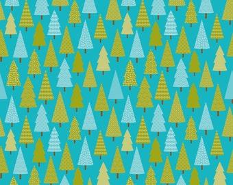 Riley Blake Designs Happy Camper Camper Trees Blue fabric   - 1 yard