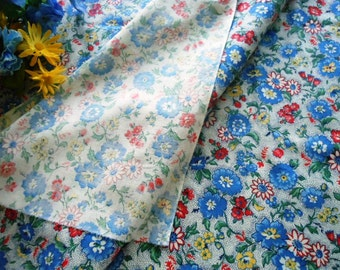 Vintage Cotton Fabric Blue Red Yellow Flowers 4 + Yards