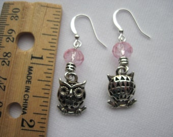 Owl earrings with faceted glass beads on hypoallergenic ear wires by ggbeads