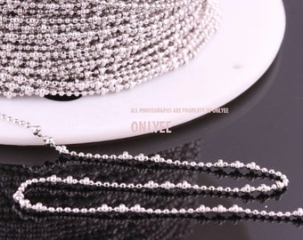 5yd-2mm(Ball),1.2mm(Small Ball)Bright Rhodium plated Brass Modify Ball Chain For necklace chain, link chains (N141S)