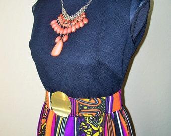 Vintage Mod 1970s Long Colorful Maxi Dress w/Belt