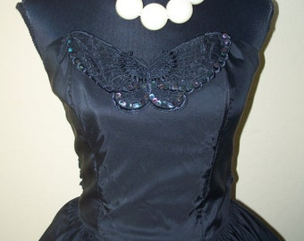 Vintage 1980s Steppin Out Black Taffeta Party Dress Sz 9