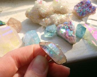 Opal Angel Rainbow Aura Quartz Crystal Sterling Silve Ring - Size 7.5