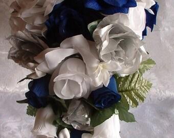 2pc ROYAL BLUE Horizon Wedding Bouquet Cascade WHITE Silver Silk Flowers Boutonniere  Roses