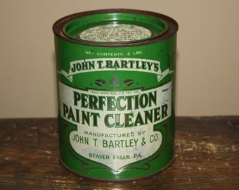 Vintage 1920s Advertising Tin Can: John T. Bartley's Perfection Paint Cleaner; Old Store Stock with Contents; NOS; Beaver Falls, PA