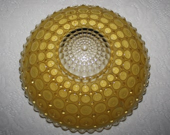 "Vintage Yellow Art Deco Bubble Glass Ceiling Light Fixture Shade; 10"" Diameter Chain Hung Cover"