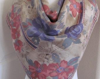 "Designer Beautiful Beige Floral Silk Scarf // 31"" Inch 80cm Square // Best of the Best"