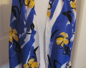 ECHO // White Blue Yellow Silk Scarf // 11 x 52 Long // Best of the Best