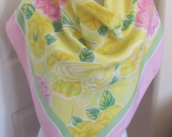 "Escada Beaute Scarf // Beautiful Large Pink Yellow Floral Silk Scarf // 34"" Inch 88cm Square // Best of the Best"