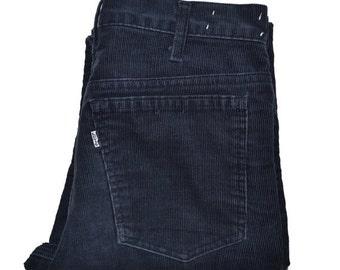 ON SALE Vintage 1980's Dark Blue LEVI'S Levis 519 Straight Leg Corduroy Jeans 30 x 30 Talon 42 Zipper