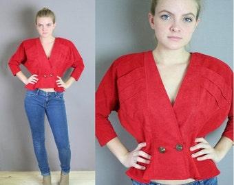 ON SALE Vintage 80s CROPPED Blondie and Me Red Jacket