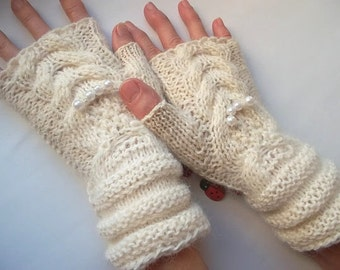 SALE 20% OFF GLOVES / Women Accessories Fingerless Mittens Hand Knitted Elegant Warm Wrist Warmers Arm / Crochet Winter Chic Cabled Gift 336