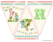 Digital PRINTABLE Vintage Woodland Animals Deer Fawn Teddy Bear Flower Birthday Tea Party Children Handmade Banner Flag Digital Images Sh316