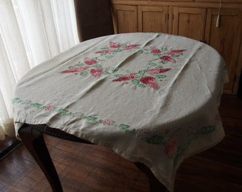Embroidered Linen Tablecloth Lilacs Antique Hand Made 48 x 50