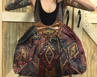 Vtg Crouch & Fitzgerald New York Sharif Leather Patchwork Hobo Bag