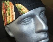 Burgers and more Burgers  Fitted Men's Sporty Surgical Cap / Biker Cap / Chef Cap with Terry Band