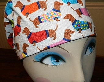 Wiener Dogs  European Style  Surgical Scrub Cap with Toggle