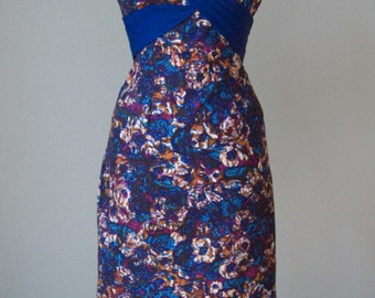 1950s Alix of Miami Cotton Hourglass Dress // Bold Floral Print // Pleating Detail // Medium