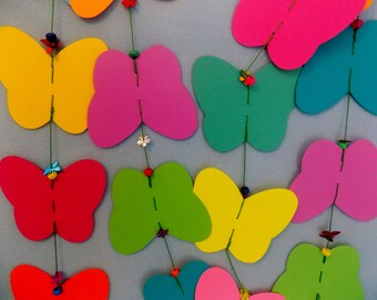 BUTTERFLY GARLAND ~ Rainbow Paper Butterfly Garland/ Bunting for Kids & Grownups ~ Bight Colorful Creatures of the Rain Forest ~ BUTTERFLIES