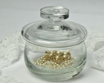 Etched Crystal Trinket Box / Vanity Dresser Box / Jewelry Storage