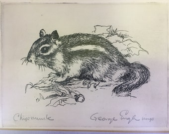 Vintage Woodland Animal Art  Signed Chipmunk Etching George Engle Cute Animal Print Framed & Matted 60s Print