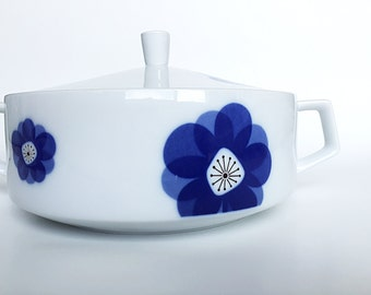 Mid Century Covered Casserole China Casserole Covered Serving Bowl Blue Atomic Flower Indigo Moon Retro 60s China