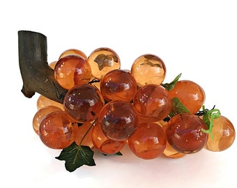 SALE Large Lucite Grape Cluster Mid Century Decor Acrylic Grapes Mad Men Coffee Table Decor Orange Bunch of Grapes