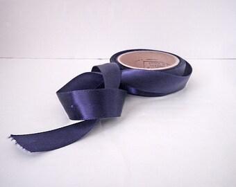 Vintage Half Inch Satin Ribbon Navy Blue 14 Yards