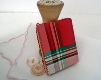 Antique Tartan Plaid Needle Book Sewing Accessory Pin Case Keep Stewart