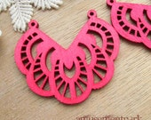 WP03 / # 3 Fuschia / Wood Filigree Lace Dangle For Earring/ Laser Cut Lace Charm / Pendant / Romantic Chic Bohemian Filigree Dangle
