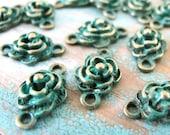 10 pcs Aged Look verdigris patina bronze Filigree Flower Bead