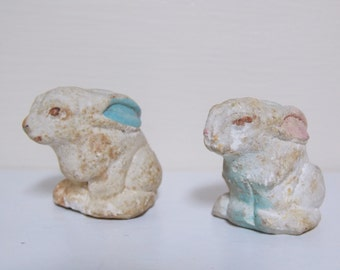 White Bunny Rabbit Boy and Girl Chalkware Carnival Prize Figures