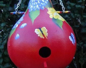 Bursting In Colors Hydrangeas And Butterflies Gourd Birdhouse
