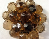 Brown Lucite Cluster Cabocon with Nylon Shank - 50mm x 20mm  (Qty 1)