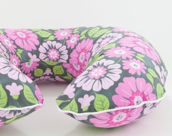 Vintage Floral Boppy Cover Nursing Pillow Cover Boppy Slipcover with Zipper and Piping All Cotton Boppy Cover Boppie Cover
