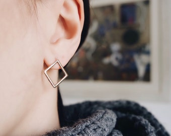 Square Earrings-rose gold plated- Free Shipping
