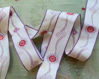 """antique art deco ribbon 1930s embroidrered cotton red purple 1 3/16""""  flapper flower trim very intricate pattern"""