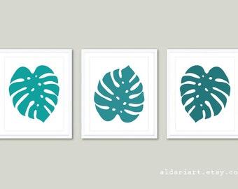 Monstera Leaf Print Monstera Leaf Wall Art Topical Leaf Print Set of 3 Prints Leaf Wall Art Summer Decor Aldari Art